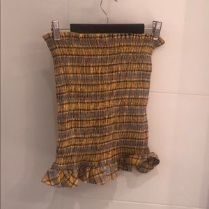 Shein plaid bodycon smocked skirt